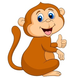 Cute monkey cartoon thumb up vector image vector image