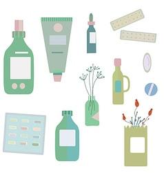 Medical drugs and bottles - for herbal medicine vector image