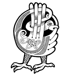 black and white authentic celtic bird vector image