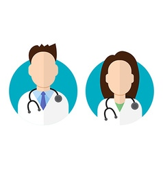 Doctor icon flat style male and female vector image