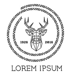 Hipster logo with silhouette of polygonal deer and vector image