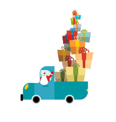 santa truck car and christmas gifts holiday vector image