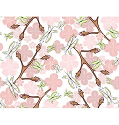 Seamless pink blossom and butterflies vector image