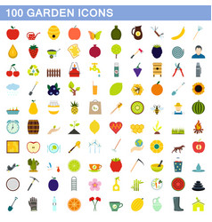 100 garden icons set flat style vector image vector image