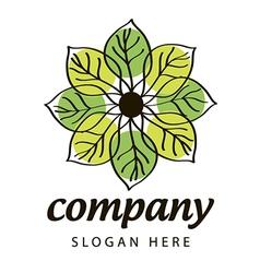 logo green and yellow petals vector image