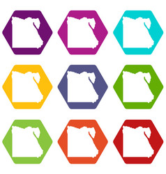 map of egypt icon set color hexahedron vector image