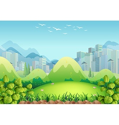 Nature scene with buildings in the background vector image vector image