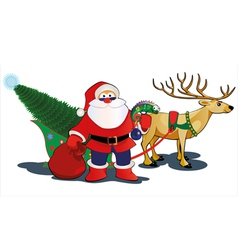 santa and deer vector image vector image