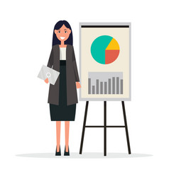 success businesswoman with graphs on broadsheet vector image