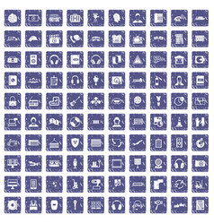 100 headphones icons set grunge sapphire vector