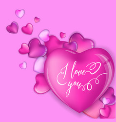 3d colorful hearts for happy valentines day card vector
