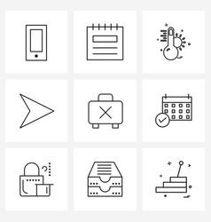 9 universal line icon pixel perfect symbols vector