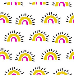 abstract rainbow fans seamless pattern vector image