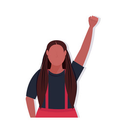 African american woman raised up fist black lives vector