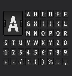Airport flip board bold alphabet for flight vector