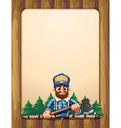 An empty wooden frame border with a lumberjack vector