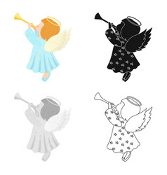Angel with a pipe single icon in cartoonblack vector