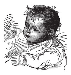 Baby face in this picture vintage engraving vector