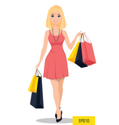 beautiful woman with bags attractive cartoon girl vector image