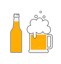 beer bottle and glass of beer vector image
