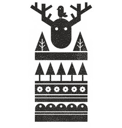 Black and white scandinavian print with bird and vector