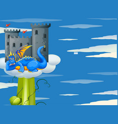 blue dragon and castle on giant beanstalk vector image