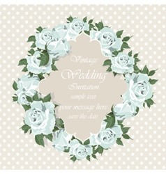 Blue Roses Vintage Invitation card vector