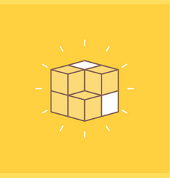 Box labyrinth puzzle solution cube flat line vector