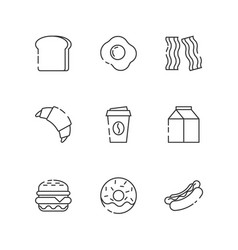 breakfast and fastfood outline icons vector image