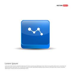 business graph icon - 3d blue button vector image