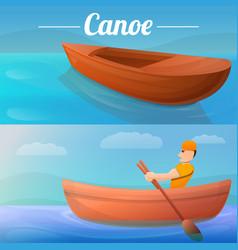 Canoeing banner set cartoon style vector