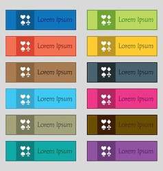 Card suit Icon sign Set of twelve rectangular vector