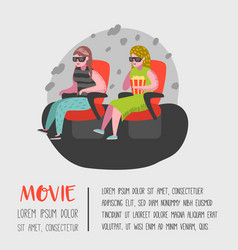 cartoon people watching movie in the cinema vector image
