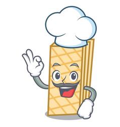 Chef waffle character cartoon style vector