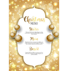 christmas background with golden hanging baubles vector image