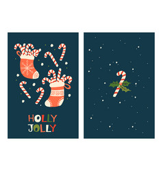 Christmas greeting cards with candy cane vector