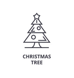christmas tree line icon outline sign linear vector image