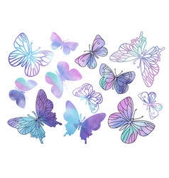 Clip arts purple butterflies color vector