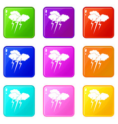 cloud with lightnings icons 9 set vector image