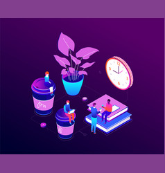 Coffee break - modern isometric colorful vector