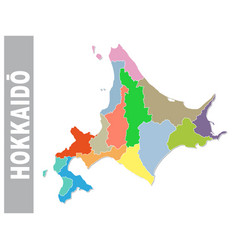 colorful administrative map hokkaido vector image