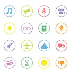 Colorful simple flat icon set 5 with circle frame vector