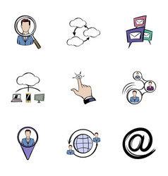 Communication icons set cartoon style vector
