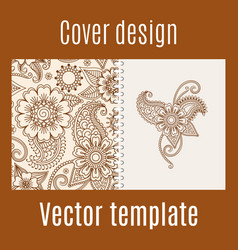 Cover design with henna mehendi pattern vector