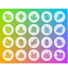 crystal shape carved flat icons set vector image