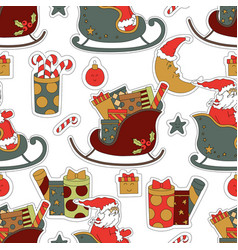 Cute fabric for christmas santa claus gifts vector