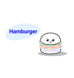 cute hamburger cartoon comic character with vector image