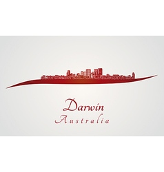 Darwin skyline in red vector image