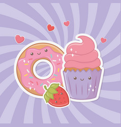 Delicious and sweet donut and products kawaii vector
