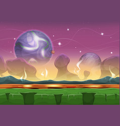 Fantasy sci-fi alien landscape for ui game vector